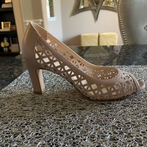 Aquatalia tan peep toe